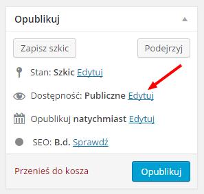 Dostępność wpisu w Wordpress